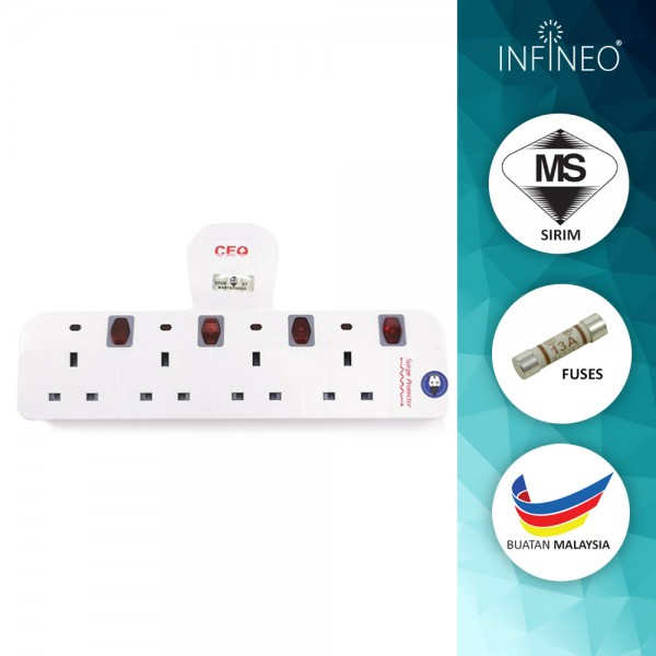 4 Way T Socket Adaport with Neon Light & Surge Protector (SIRIM Approved)